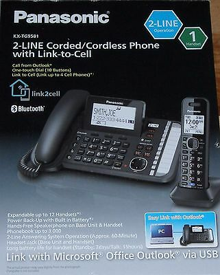 Brand New Panasonic KX-TG9581 2-Line Corded/Cordless Phone with Link to Cell