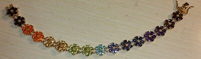 Chuck Clemency NYCII Yellow gold Sterling silver rainbow Flower Tennis Bracelet