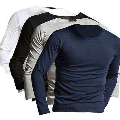 Neuf Mode Homme Manches Longues T-shirts Pull Slim Fit Tops Blouse Tee Chemisier