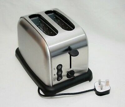 2 Wide Slice Electric Toaster Browning Control Crumb Tray Breakfast Bread SILVER