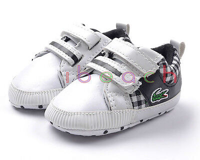 Baby Boy Black Plaid Soft Sole Crib Shoes Sneakers Size Newborn to 18 Months
