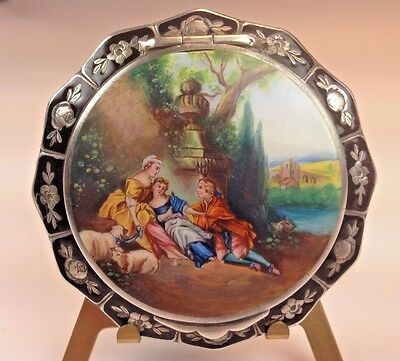 Antique Sterling Silver 935 German Figural Enamel Guilloche Compact Hand-Painted