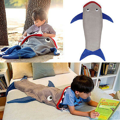 Kids Shark Mermaid Tail Cosy Fleece Blanket Snuggle-in Sleeping Bag Xmas Gift