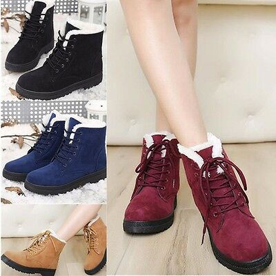 Women's Ladies Fur Lined Winter Warm Boots Flat Lace Up Snow Ankle Boots Shoes