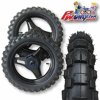 PW50 PW 50 Yamaha wheel rims and MX tread Tires Set BLACK FRONT NEW
