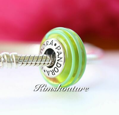 Authentic Pandora Green Ribbon Murano Charm with Sterling Silver 790615 Retired