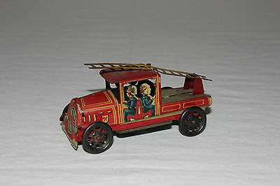 Rare PAYA Spain Tin Litho Penny Toy Fire Ladder Engine Truck EX+ Must L@@K