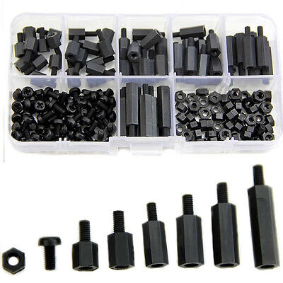 180Pcs M3 Nylon M-F Hex Spacers Screw Nut Assortment Tool Stand off Set 2016 New