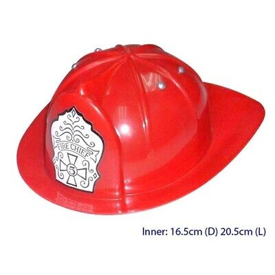 KIDS Dress-up Accessory FIREMAN'S Costume TOY FIRE CHIEF HAT Red HELMET Plastic