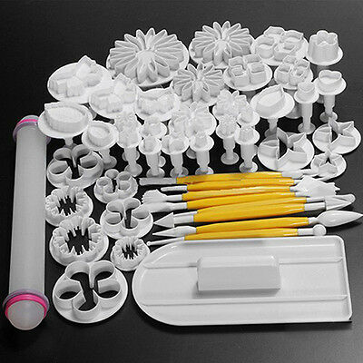 46pcs Sugarcraft Cake Decorating Plunger Cutters Mold Icing Mould Tools Novelty