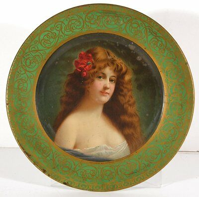 1905 Tin Lithograph Advertising Tray Vienna Art Plate Angelo Asti Pretty Girl #2