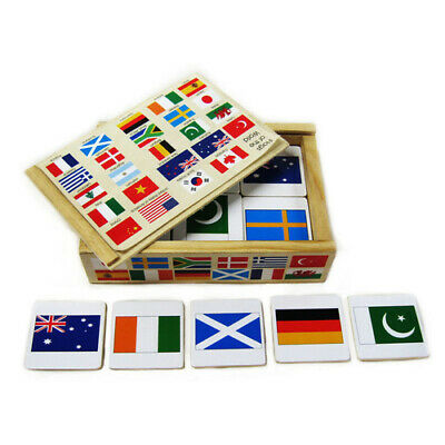 INTERNATIONAL FLAGS PAIRS Memory Game PRESCHOOL Educational WOODEN Geography Toy