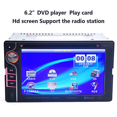 Bluetooth 6.2Inch Touch LCD HD 2-DIN In Dash USB Car DVD CD Stereo MP3 Player