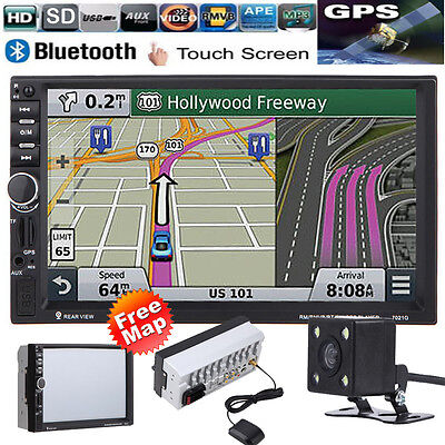 "GPS 7"" 2 Din Bluetooth Touch Car MP5 Player USB/SD/FM/TV Stereo Radio + Camera"