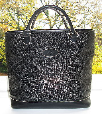 Authentic Mulberry Black Scotchgrain & Leather Hellier Hand Grab Bag