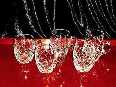Magnificent Vintage Hand Cut Crystal Punch Cups Set Of 5 Bohemia