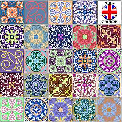 "4"" or 6"" Multi Moroccan Tile Sticker Decal Kitchen Bathroom Self Adhesive TP58"