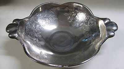 Rare Rockwell All Over Sterling Silver Overlay Glass Dish~American Beauty Rose