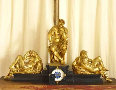 Monumental French Clock 19th C MIchelangelo's Lorenzo II Di Medici Gilt Bronze
