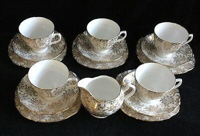 Vintage Royal Vale Gold Floral Chintz Bone China Tea Set  x 5 - 16 Pieces