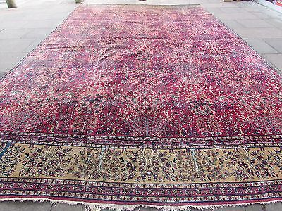 Antique Traditional Hand Made Large Turkish Red Pink Wool Large Carpet 565x337cm