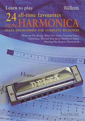 Learn to Play 24 All-Time Favourites on the Harmonica Beginners Music Book