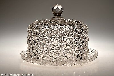 ca. 1884 No. 101 DAISY & BUTTON AKA HOBNAIL by Hobbs CRYSTAL Cheese Dish w/Cover