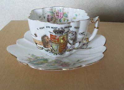 RARE ANTIQUE Shelly & Wileman QUEEN VICTORIA DIAMOND JUBILII CUP AND SAUCER 1897