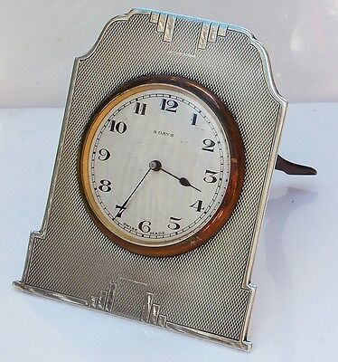 STUNNING STYLISH ART DECO Walker & Hall SOLID SILVER EASEL BACK 8 DAY CLOCK