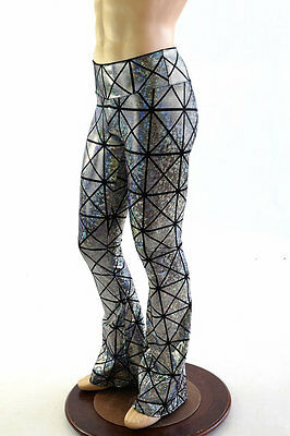 Mens Silver/Black Cracked Tile High Waist Bootcut Spandex Pants Made To Order
