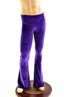 Mens Purple Stretch Velvet High Waist Bootcut Spandex Disco Pants Made To Order