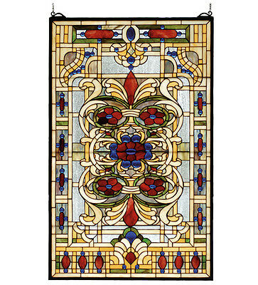 "Meyda Lighting 71268 22""W X 35""H Estate Floral Stained Glass Window Panel"