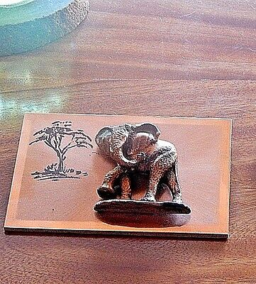 NEW VINTAGE 1970's ~ COPPER ELEPHANT 3-DIMENSIONAL WALL ART ~ MADE IN KENYA