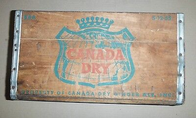 Vintage Canada Dry Ginger Ale Wood Crate Case S 12 55 Old Antique Nice Patina