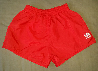 Kids Red Adidas Vintage Nylon Football Sprinter PE Shorts Running  30""