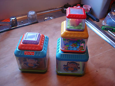 Fisher Price Peek-a-Blocks Stack & Nest Blocks Lion Monkey Jungle ~~3 Blocks~~