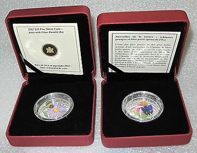 2012 -2013 Canada Butterfly Silver $20 Dollars Venetian Glass Bumble Bee