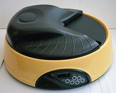 Automatic Pet 4 Tray Feeder + Water Option Cat Dog LCD Display Record a Message