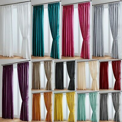 Luxury Faux Silk Fully Lined Curtains - Pencil Pleat Tape Top - Free Tiebacks