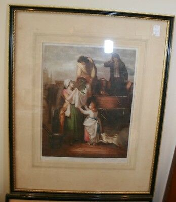 """Antique framed Print  """"Cries of London"""" large stipple engraving"""