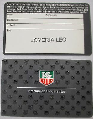 Open Gray Grey TAG HEUER 2 Year International Guarantee Card Dealer Store Stamp