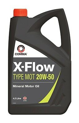 4x X-Flow Type MOT Mineral Oil 20W50 - 4.5 Litre Comma XFMOT1G Genuine Quality