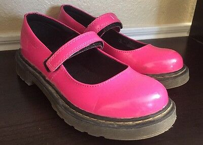 Dr Doc Martens MACCY Mary Jane Patent Leather PINK Kids Size 2 Girls Shoes