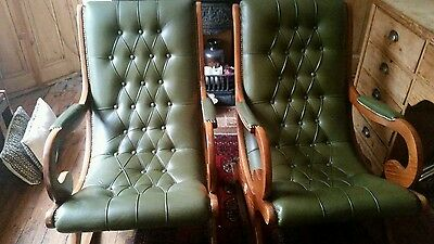 2 green Vintage Leather Chesterfield styled Rocking Chair's c1950 60s GOOD COND