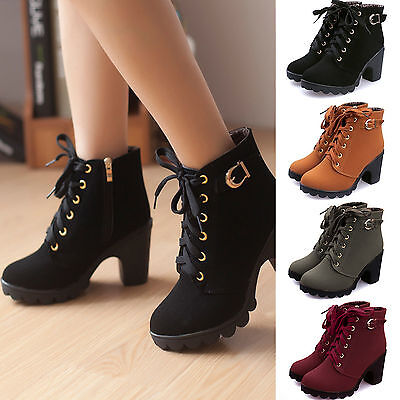 Fashion Women High Heel Lace Up Ankle Boots Ladies Zipper Buckle Platform Shoes