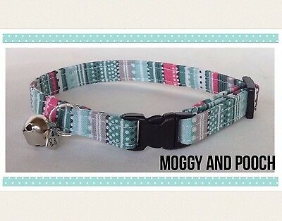 Handmade Multi Coloured Cat Collar, Safety Release Buckle, Bell And Charm