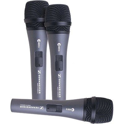 Sennheiser E835-S Cardioid Handheld Dynamic Switched Microphone 3 pack
