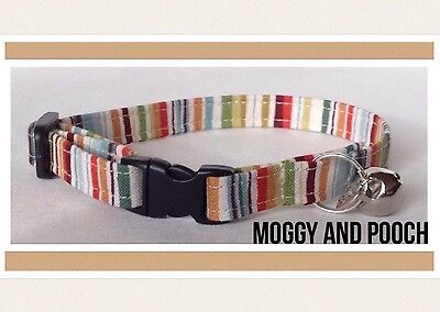 Handmade Multi Coloured Cotton Cat Collar Safety Release Buckle, Bell & Charm