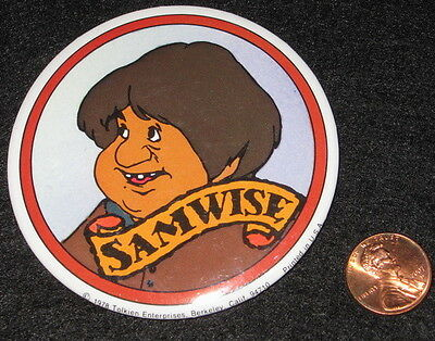 SAMWISE GAMGEE the Hobbit '78 vtg movie BUTTON Lord of the Rings Bakshi animated
