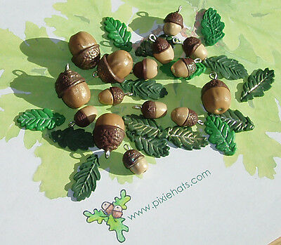 Brown acorn beads nut and cup charms oak leaves woodland tree craft